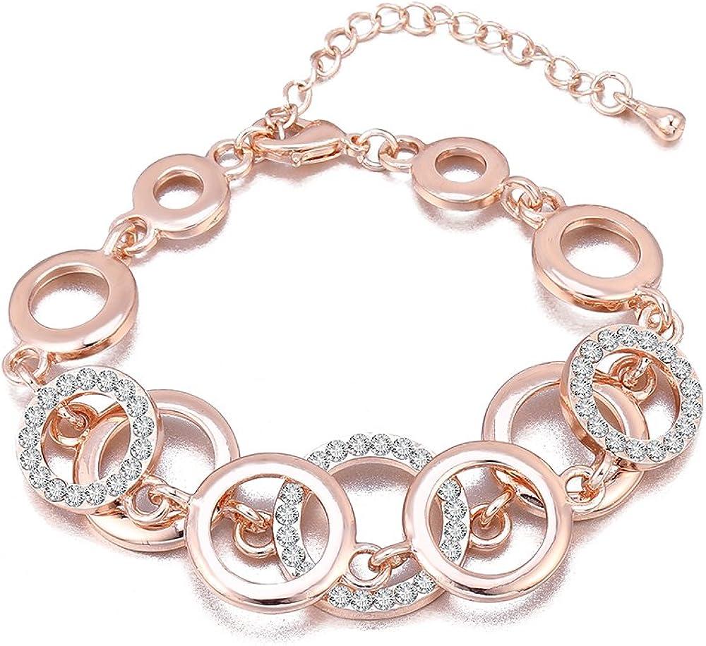 Pulsera para mujer, anillos, pulsera de cadena para niñas, pulsera de oro y plata chapada pulsera pareja amigos pulsera rígida con cristal