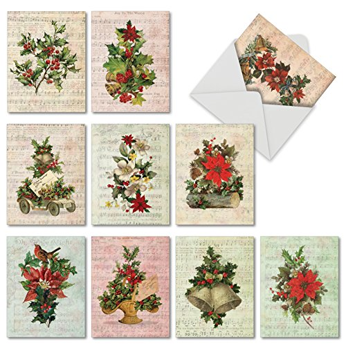 (Holly Notes - 10 Assorted Blank Christmas Cards with Envelopes (4 x 5.12 Inch) - Boxed Greeting Card Set with Vintage Poinsettias, Holly, and Ivy - Stationery for Holidays, New Year M6650XSB)