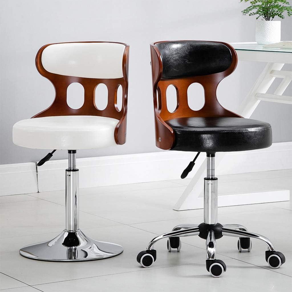 Bureau pivotant avec dossier Roue, Rétro Chaise de bureau moderne, la hauteur d\'assise réglable de 44 à 54cm. (Color : Beige) Black