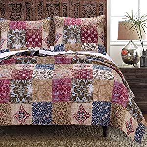 Greenland Home Charmed Cranberry Quilt Set, 3-Piece King