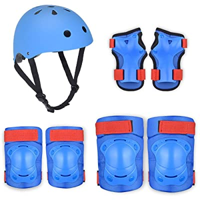 No-branded Protective Gear Sets Helmet Kids Infant Helmet 2-8 Years with Knee Elbow Pads and Wrist Guards for Cycling Skating Bicycle ZRZZUS (Color : E Blue, Size : S): Home & Kitchen