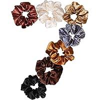 Uni-Fine 7 Stks Zijde Haarbanden Non-Slip Haar Scrunchies voor Vrouwen Effen Kleur Traceless Zijde Scrunchies voor Dikte…