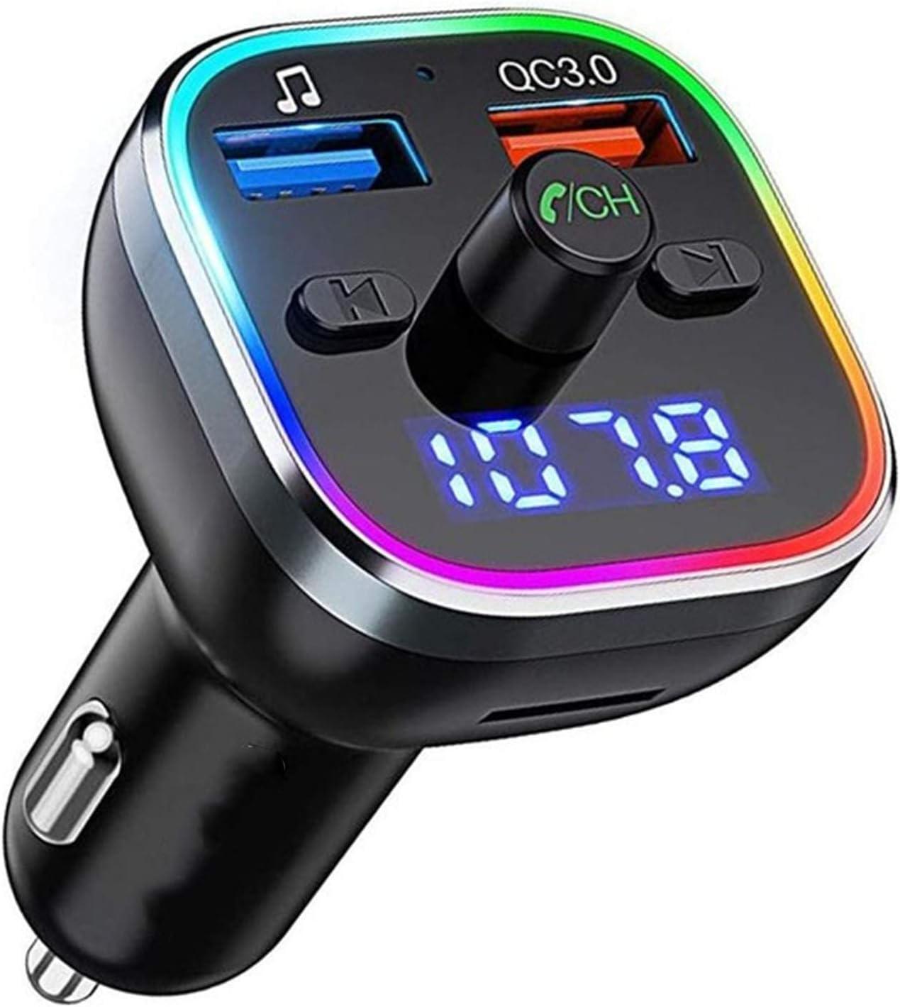 Bluetooth 5.0 FM Transmisor Del Coche, Adaptador De Radio, Carro De Carga Rápida, Efecto De Sonido De Alta Fidelidad, 6 Luces De Color RGB, Función De Llamada Con Manos Libres