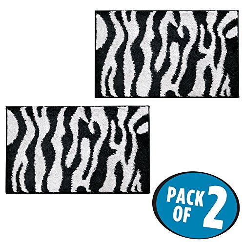 - mDesign Soft Microfiber Non-Slip Small Rectangular Spa Mat, Zebra Print Design - Plush Water Absorbent Accent Rug for Bathroom Vanity, Bathtub/Shower, Machine Wash - 34