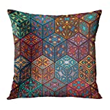 20 Inch Tall Ottoman DTTOT Throw Pillow Cover Flower Abstract Colorful Vintage with Floral and Mandala and Carpet Arabic Indian Ottoman Motifs Retro Decorative Pillow Case Home Decor Square 20x20 Inches Pillowcase