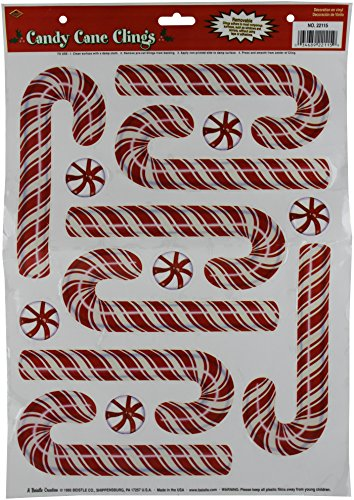 Christmas Candy Cane Clings, 12-inch By 17-inch Sheet (1/pkg) Pkg/3
