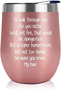 Sister Gifts from Sister, Brother - Birthday Gifts For Sister - Mothers Day Gifts For Sisters - Funny Best Sister Gifts For Soul Sister, Big Sister, Little Sister - 12oz Wine Tumbler