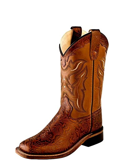 1521b7c5e57 Amazon.com | Old West Kids Boots Unisex Square Toe Handed Tooled ...