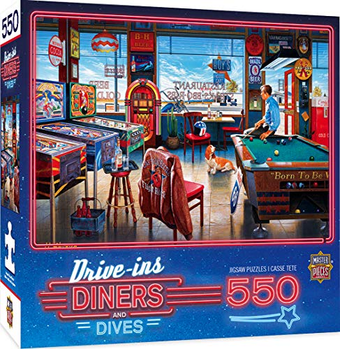MasterPieces Drive-Ins, Diners and Dives Jigsaw Puzzle, Classic, Fun, Nostalgia, Pockets Pool & Pub, 550 Pieces