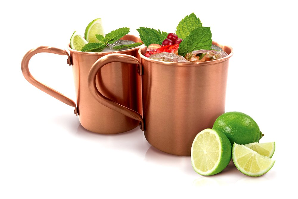 Dearest Moments 100% Pure Solid Copper Moscow Mule Mugs (SET OF 2) (Smooth Finish 14 oz)