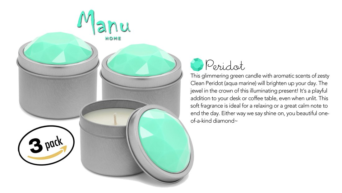 Manu Home Candle Gift SALE Peridot Spa Candle Set of 3~8.25 oz (each Candle is 2.75oz) ~ Perfect for Travel~ Made in USA. by Manu Home
