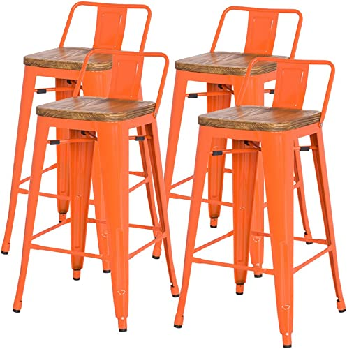 New Pacific Direct Metropolis Metal Low Back Bar Stool 30 Wood Seat,Indoor Outdoor Ready,Orange,Set of 4