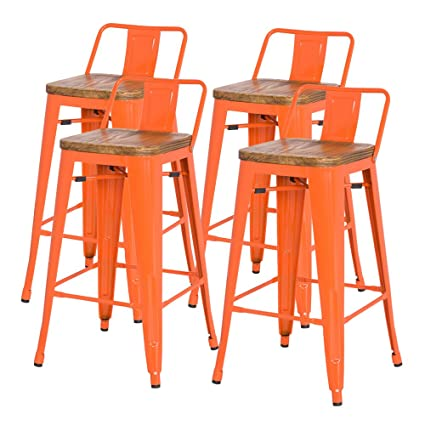 Sensational New Pacific Direct Metropolis Metal Low Back Bar Stool 30 Wood Seat Indoor Outdoor Ready Orange Set Of 4 Andrewgaddart Wooden Chair Designs For Living Room Andrewgaddartcom
