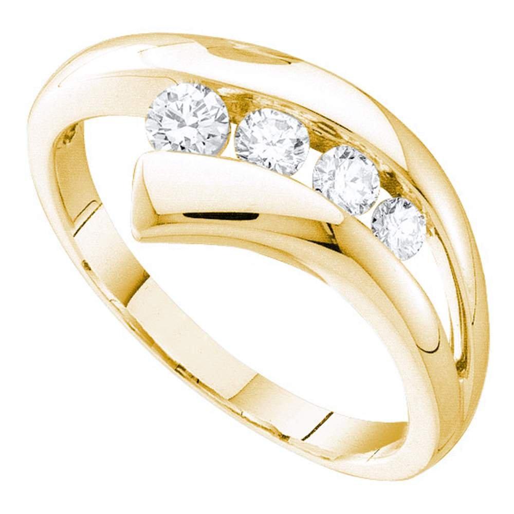 10k Yellow Gold Round Diamond Journey Ring Four Stone Band Curve Style Fashion Polished 1/3 ctw Size 5.5