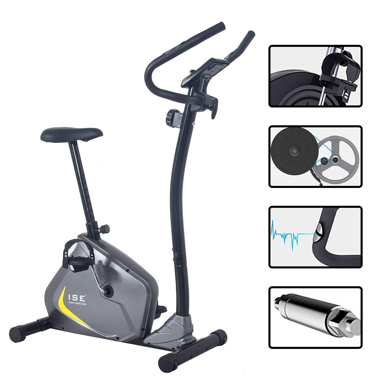 ISE Cyclette Magnetica con Computer di Allenamento /& Sensori delle Pulsazioni Gym Fitness Bike Home Cardio Trainer SY-8802 Grigio