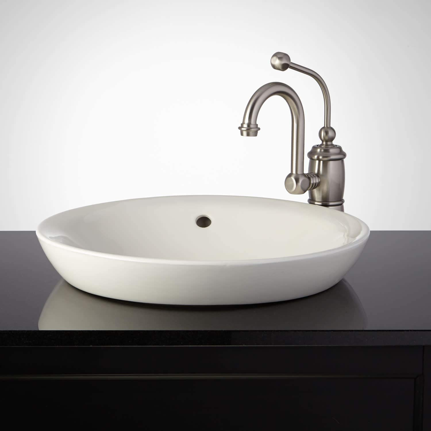 Signature Hardware 362496 Milforde 17 Porcelain Drop In Bathroom Sink