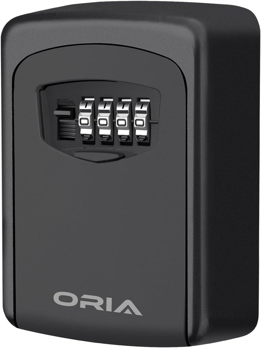 ORIA Key Storage Lock Box, 4 Digit Combination Lock Box, Wall Mounted Lock Box, Resettable Code, 5 Key Capacity, Black