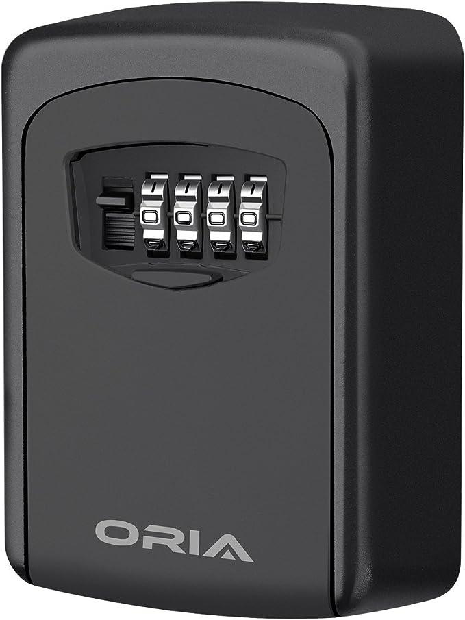Amazon.com: ORIA Key Storage Lock Box, 4 Digit Combination Lock Box, Wall Mounted Lock Box, Resettable Code, 5 Key Capacity, Black: Home Improvement