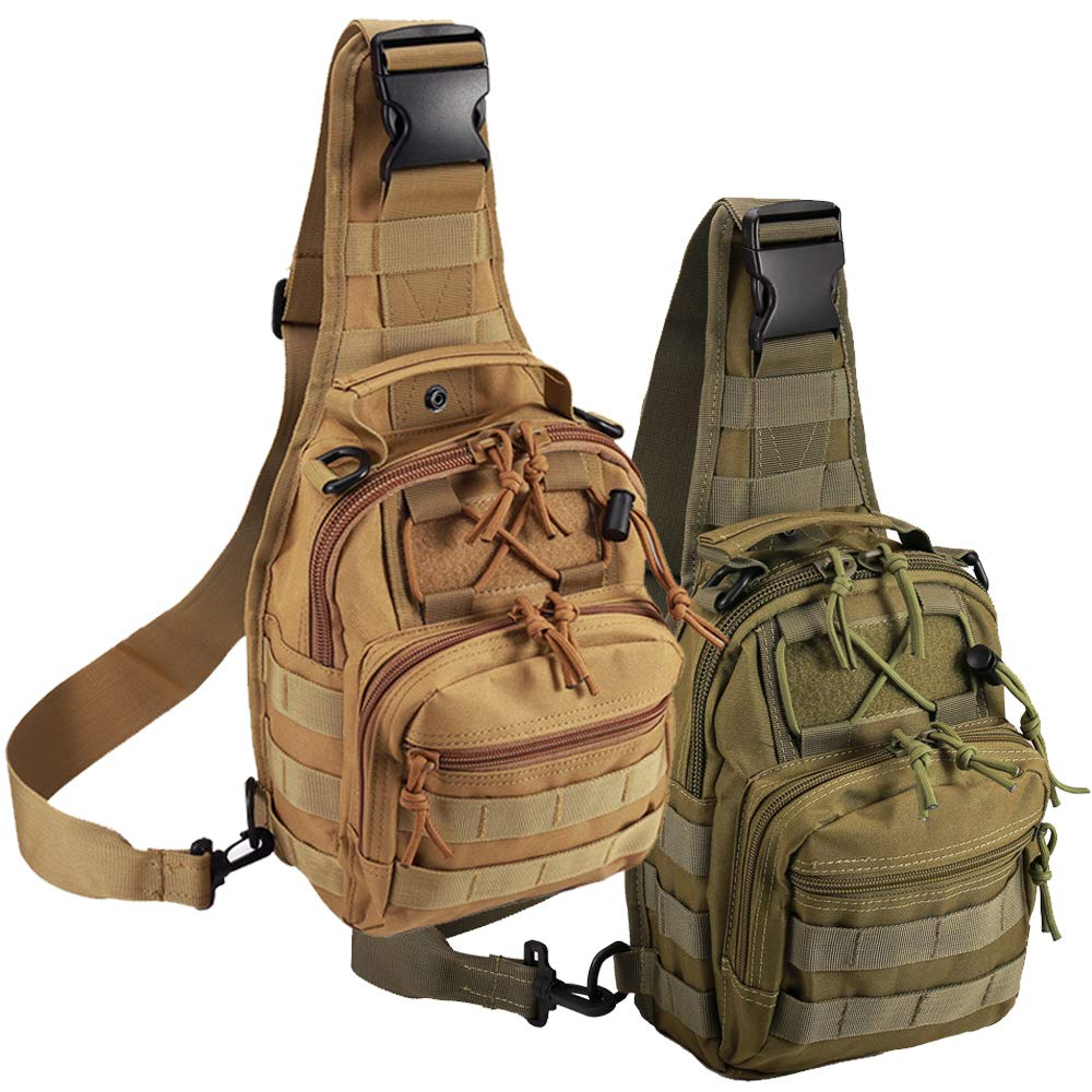 Tactical Shoulder Bag,1000D Outdoor Military Molle Sling Backpack Sport Chest Pack Daypack Bags for Camping, Hiking, Trekking, Rover Sling (2 Pack Tan and Green) by Novemkada