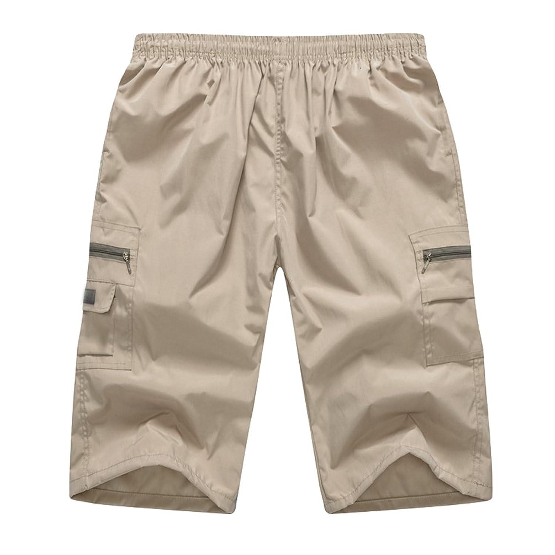 362351f22d Yiiquan Hombres de Mediana Edad Pantalones Cortos Leisure Capri Cargo  Shorts Originales Bermudas best