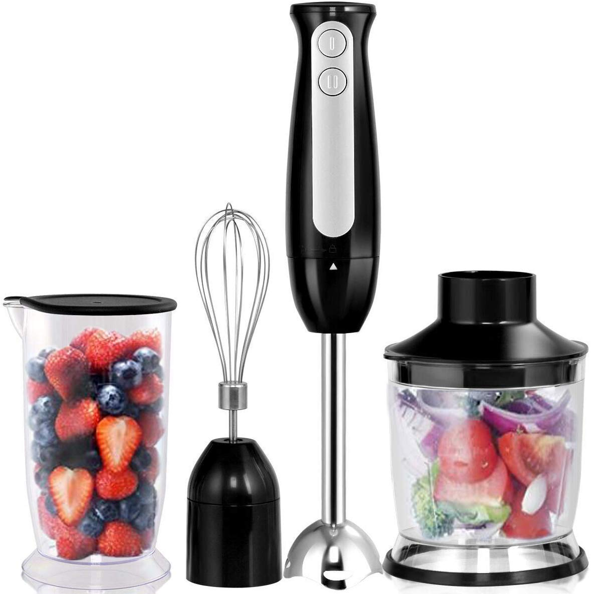 COSTWAY 4-in-1 Hand Blender 600W 2-Speed Electric Multifunctional Immersion Stick Blender w/500ml Food Chopper, Egg Whisk, and 700ml Beaker (Black) by COSTWAY