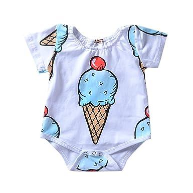 bfc355cc6 Newborn Infant Baby Boy Girl Ice Cream Print Short Sleeve Romper Summer  Clothes (0-