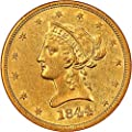1844 O $10 Liberty Gold Ten Dollar AU58 NGC\CAC