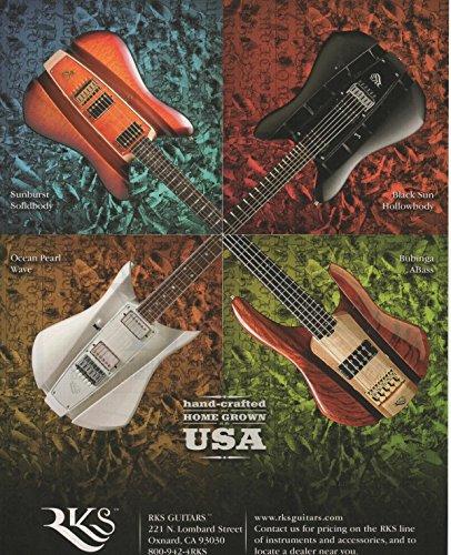 Magazine Print Ad: 2006 RKS Electric Guitars, Wave Ocean Pearl, Sunburst Solidbody, Black Sun Hollowbody, Bubinga ABass