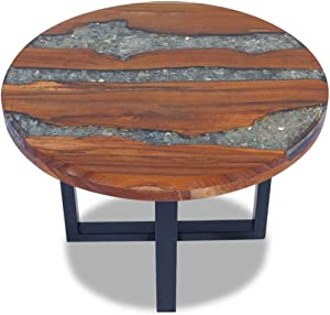 Side Table 23.6inch Round Home and Office Sofa End Tables Teak Wood Resin Wood Pure Handmade for Home Office Living Room Furniture Decor