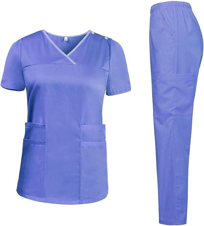 Aibrou Pantaloni Medical da Lavoro Cotone Donna Uniformi Sanitarie Ospedale per Medico Infermiere OSS Estetista