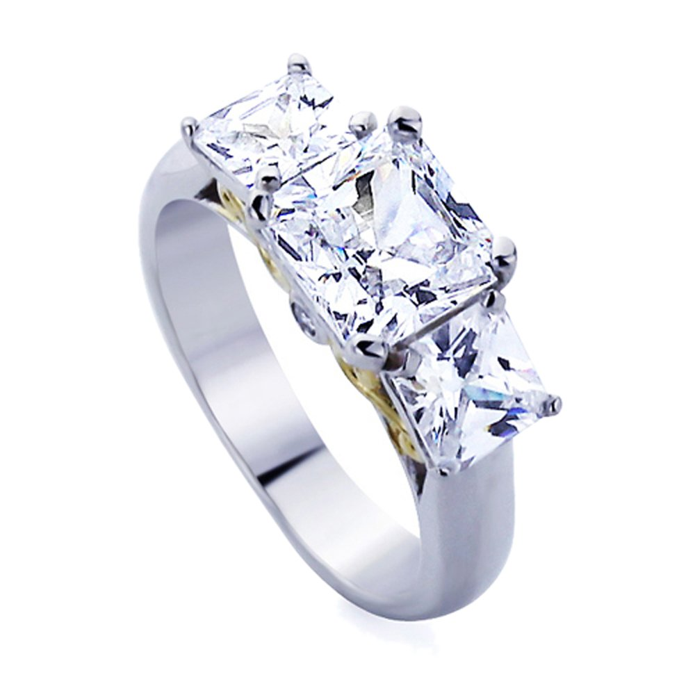 Rhodium Plated Sterling Silver Two Tone Princess Cut CZ Three Stone Anniversary Ring Size- 9