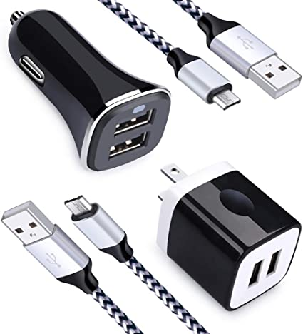 2.4A Dual Port USB Car Charger + 2.1A Dual Port Wall Charger Block Brick + 2Pack Micro USB Cable Charging Cord Phone Charger Compatible Samsung Galaxy