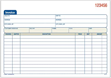 Adams Invoice Book 3 Part Carbonless 5 56 X 8 44 Inch 50 Sets