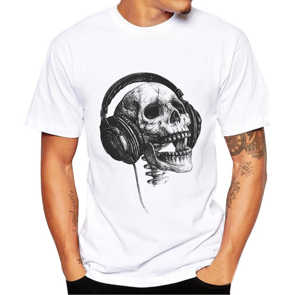 Homebaby® T-Shirt Uomo Vintage Cranio - Camicia Uomo Elegante Bianco Maglietta Manica Corta - Tshirt Stretch Maglione Cotone Uomo Tumblr Estiva Particolari Magliette Corte