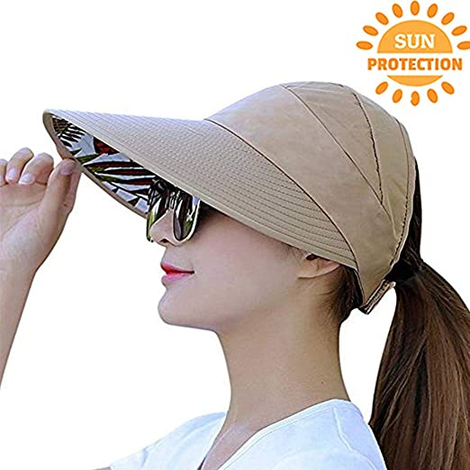 Visor Cap for Women Wide Brim UV Protection Summer Beach Sun Hats (Khaki) c20be836ef3