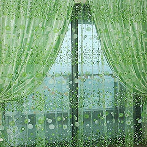 PanDaDa Floral Sheer Voile Curtain Drape Panel Tulle Valances Green