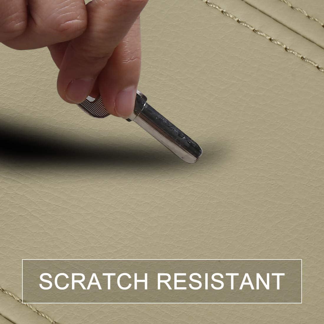 X AUTOHAUX Center Console Cover Armrest Cover Pad Replacement Microfiber Leather Beige 43.5x18cm