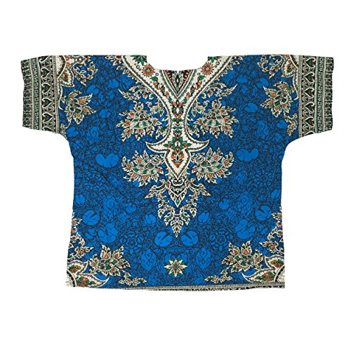 Lofbaz Traditional African Print Unisex Dashiki Ethnic Size M Blue (70s Men Clothes)