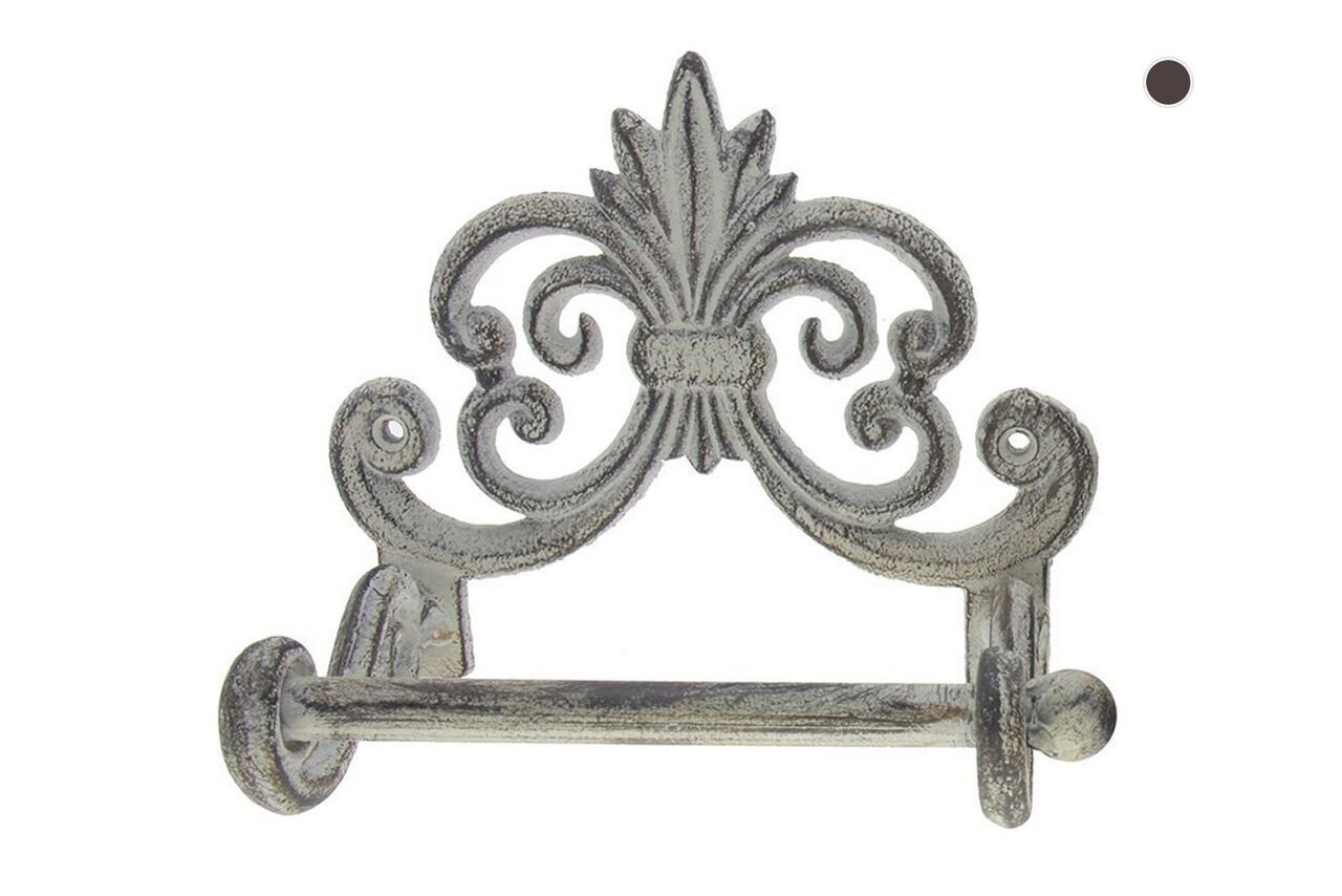 "Comfify Fleur De Lis Cast Iron Toilet Paper Roll Holder - Cast Iron Wall Mounted Toilet Tissue Holder - European Vintage Design - 6.75'' x 6.25'' x 4.25"" - with Screws and Anchors (Antique White)"