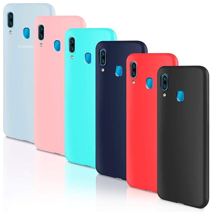 Leathlux 6 x Funda Samsung Galaxy A40, 6 Unidades Carcasas Juntas Ultra Fina Silicona TPU Flexible Colores Carcasas Samsung Galaxy A40 - Translúcido ...