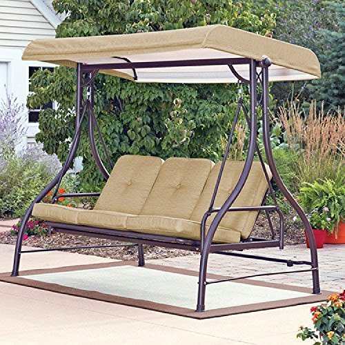amazon com mainstay 3 seat porch patio swing tan tan rh amazon com outdoor patio swing cushions outdoor patio swing with canopy