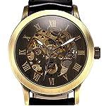 Mens Steampunk Skeleton Case Automatic Mechanical Self-Winding Leather Sport Wrist Watch 7