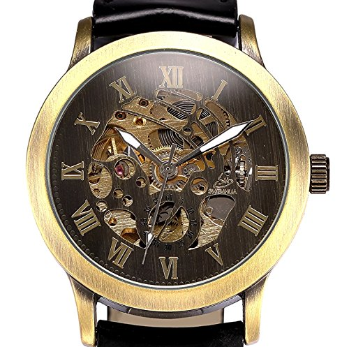 Mens Steampunk Skeleton Case Automatic Mechanical Black Leather Sport Wrist Watch