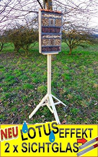Black-insektenhotel-avec-support-avec-toit-Naturel-en-corce-de-Bois-avec-revtement-spcial-Lotus-FDV-Holo-MS-Grand-1305-cm-Noir-Petite-mangeoire-msanges-nistksten-comme-complment-pour-msanges-nistksten