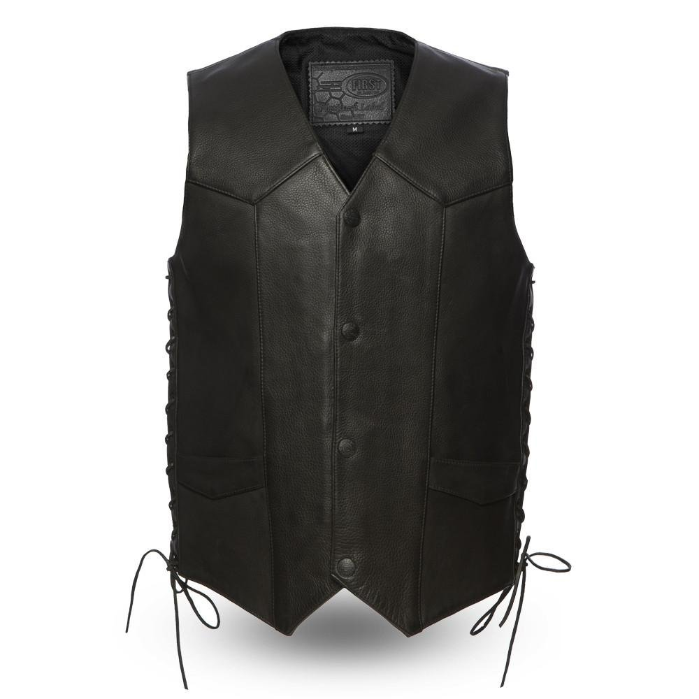 First Manufacturing FIM644CPM Black, Large First Mfg Co Platinum Series Mens Leather Vest