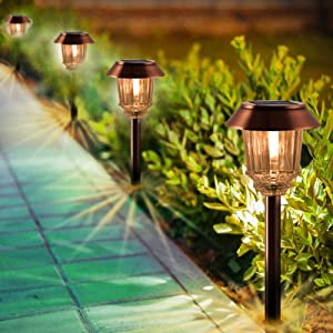 Solar Pathway Lights- LED Solar Pathway Lights Outdoor 4 Pack, Landscape Lights Outdoor, IP65 Waterproof 8-10 Hours Long Last 10-40 Lumens Adjustable Warm White Pathway Lights for Garden, Path, Yard