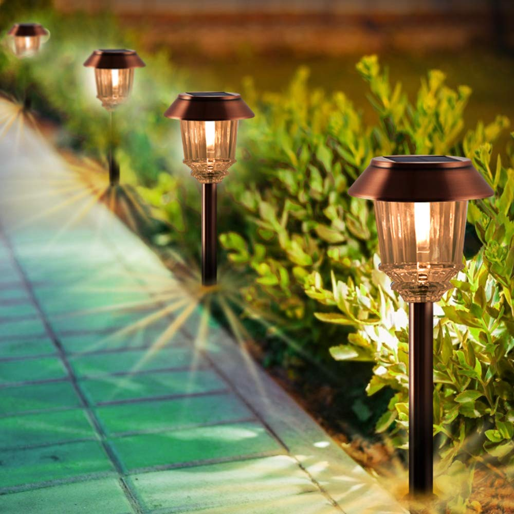Solar Lights Outdoor - Solar Garden Lights, Pathway Lights Outdoor (4 Pack), IP65 Waterproof Glass Cover, 8-10 Hours Long Lighting Time, 40 Lumens Warm White Light for Garden, Path, Yard and Walkway by XMCOSY+