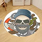 Gzhihine Custom round floor mat Skulls Decorations Christian Cross And Roses On Skull Pattern Mexican Vintage Style Bedroom Living Room Dorm Decor