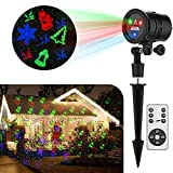 GameWill Laser Christmas Lights Red Green and Blue Star Christmas Laser Lights Projector With 19 Slides Pattern Show Decoration for Xmas Holiday Party