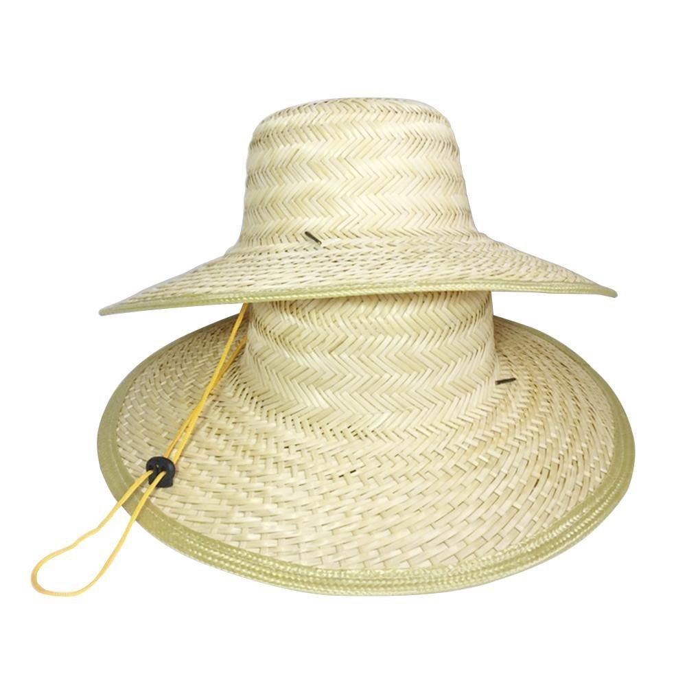 Sombrero Sombrero de Paja de Granjero Visor Protector Solar al Aire Libre de Verano A Prueba de Viento Colinsa